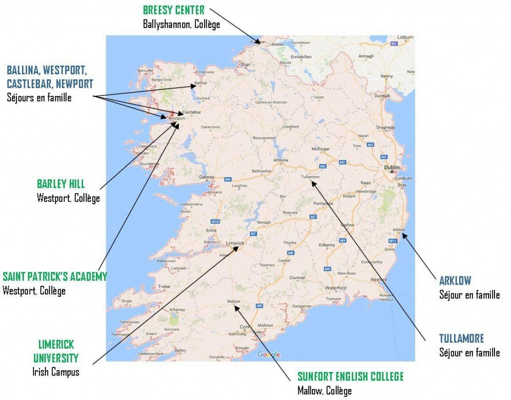 Implantations des centres REGARDS en Irlande